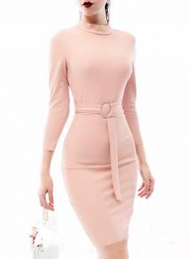 Đầm tay lỡ ôm body thiết kế cổ lọ thắt dây eo tinh tế #1130