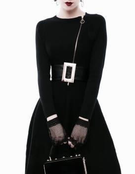 Đầm xòe đen tay dài thiết kế dây kéo trước ngực đẹp #1140