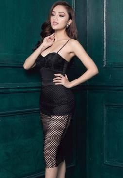 Đầm cúp ngực ôm body thiết kế 2 dây pha ren đẹp #1142