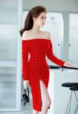 Đầm xẻ tà cao cấp thiết kế ôm body vai ngang Ngọc Trinh #1119