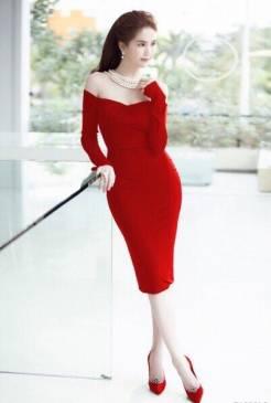 Đầm trễ vai màu đỏ thiết kế tay dài tinh tế Ngọc Trinh #1121