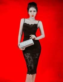 Đầm ren đen ôm body thiết kế 2 dây trẻ trung #1160