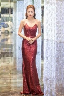Đầm dạ hội kim sa thiết kế 2 dây đơn giản tuyệt đẹp #1185