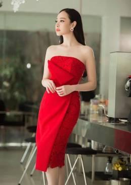 Đầm ống pha ren đỏ thiết kế ôm body cực tôn dáng #1188