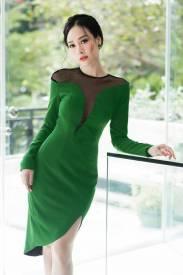 Đầm xanh lá cây ôm body kiểu dáng lai chéo tuyệt đẹp #1191
