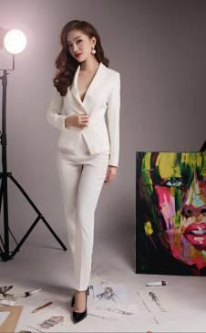 Bộ áo vest quần tây trắng đẹp thiết kế đơn giản, trẻ trung #1202