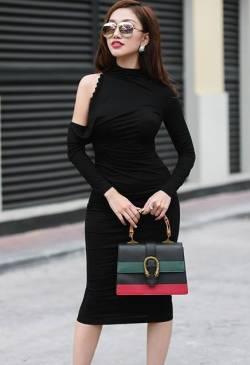 Đầm hở vai tay dài thiết kế ôm body tôn dáng tuyệt đẹp #1211
