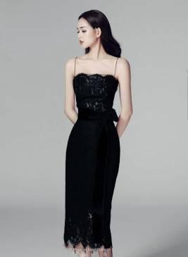 Đầm ren đen 2 dây thiết kế ôm body tuyệt đẹp #1226