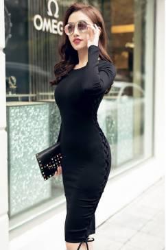 Đầm đen tay dài thiết kế ôm body sang trọng, quý phái #1221