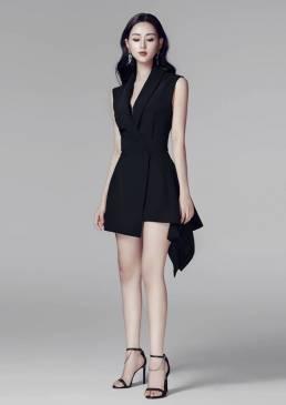 Đầm vest đen cổ lật thiết kế đuôi cá trẻ trung #1213