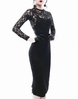 Đầm ren đen tay dài phong cách ôm body tôn dáng #1219