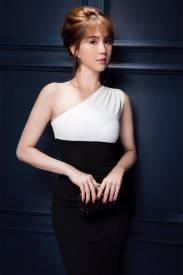 Đầm trắng đen lệch vai thiết kế ôm body đẹp Ngọc Trinh #1257
