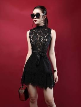 Đầm ren đen chữ A phong cách sang trọng, quý phái #1240