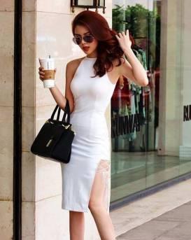Đầm trắng xẻ 1 bên đùi thiết kế đan dây cá tính #1244
