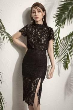 Bộ đầm ren đen xẻ tà phong cách sang trọng quý phái #1243