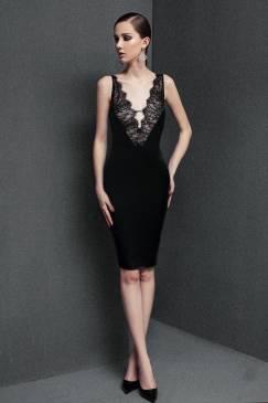 Đầm đen pha ren ôm body thiết kế tôn dáng sexy #1238