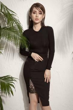 Bộ áo đầm đen tay dài thiết kế phần váy xẻ pha ren đẹp #1245