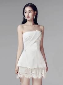 Bộ áo vest cúp ngực trắng và chấn váy ren ngắn tuyệt đẹp #1247