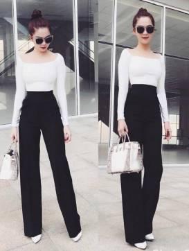 Bộ áo trắng vai ngang và Quần ống suông đen Ngọc Trinh #1242