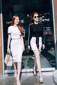 Bộ áo váy trắng đen thiết kế trẻ trung như Ngọc Trinh #1260