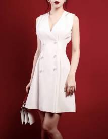 Đầm trắng cổ tim thiết kế váy chữ A thanh lịch #1249