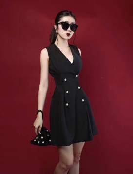Đầm vest đen sát nách thiết kế váy chữ A sang trọng #1249