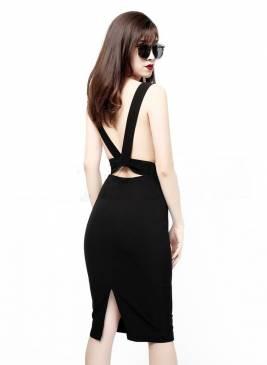 Đầm hở lưng màu đen thiết kế ôm body cực tôn dáng #1265