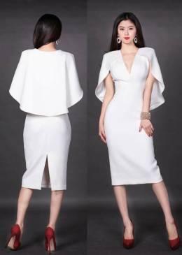 Đầm trắng dự tiệc thiết kế ôm body choàng vai tuyệt đẹp #1212