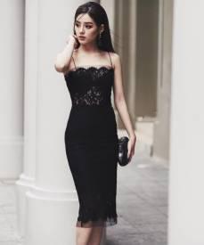Đầm ren đen hai dây thiết kế ôm body dài qua gối #1281