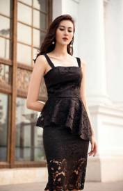 Đầm ren đen vạt xéo thiết kế hai dây sang trọng, quý phái #1282