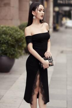 Đầm đen trễ vai ôm body thiết kế phối ren trẻ trung #1275
