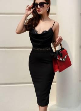 Đầm đen cổ đỗ ôm body thiết kế phối ren tuyệt đẹp #1276
