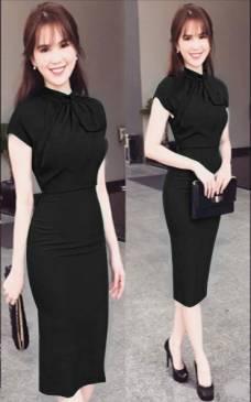 Đầm đen ôm body Ngọc Trinh thiết kế quý phái, sang trọng #1267