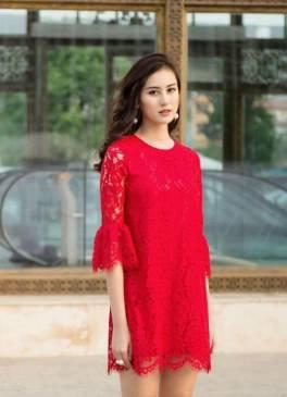 Đầm ren đỏ suông thiết kế tay loe nhẹ nhàng, nữ tính #1285