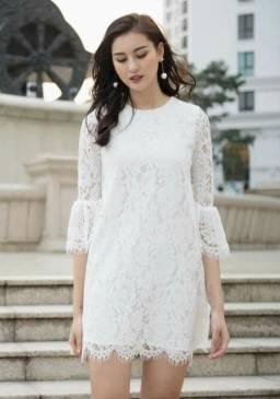 Đầm ren trắng suông thiết kế tay loe nữ tính, nhẹ nhàng #1285