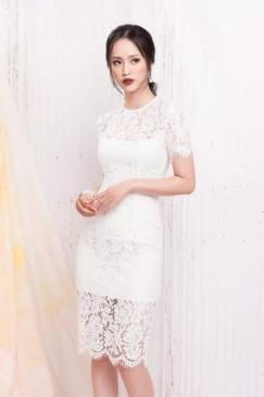 Đầm ren trắng tay con thiết kế đơn giản, trẻ trung #1284