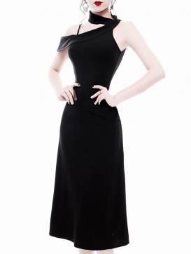 Đầm đen rớt vai 1 bên phong cách trẻ trung, nữ tính #1269