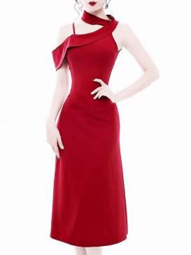 Đầm đỏ rớt vai 1 bên thiết kế váy dài qua gối chữ A #1269