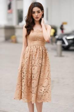 Đầm ren xòe 2 dây thiết kế nhẹ nhàng quý phái #1299