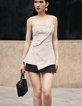 Bộ áo ống giả vest và Chân váy ngắn trẻ trung #1289