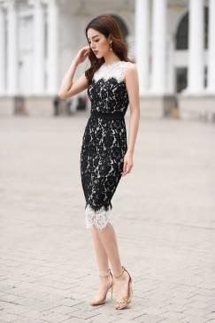 Đầm ren sát nách thiết kế ôm body phối màu  trắng đen #1296