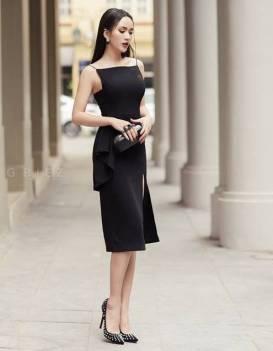 Đầm đen xẻ đùi thiết kế nách vuông ôm body tuyệt đẹp #1291