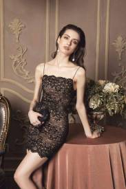 Đầm ren đen ngắn thiết kế 2 dây ôm body tôn dáng #1297