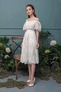 Đầm ren trắng xòe thiết kế 2 dây rớt vai dễ thương #1298