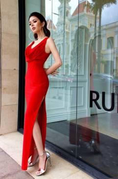 Đầm dạ hội màu đỏ thiết kế cổ đỗ xẻ bên hông tuyệt đẹp #1311