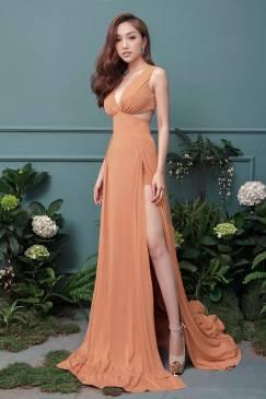Đầm dạ hội xẻ chân thiết kế xẻ cao lót quần bên trong #1301