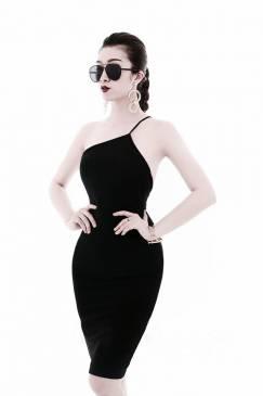 Đầm yếm đen lệch vai thiết kế ôm body tuyệt đẹp #1323
