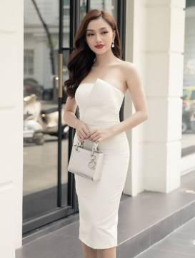Đầm ống màu trắng thiết kế ôm body đơn giản #1324