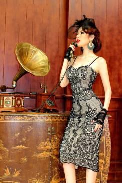 Đầm ren đen lót da thiết kế 2 dây ôm body sang trọng #1325