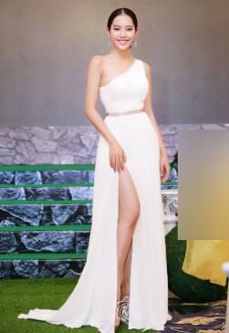 Đầm dạ hội trắng thiết kế lệch vai xẻ tà tuyệt đẹp #1335
